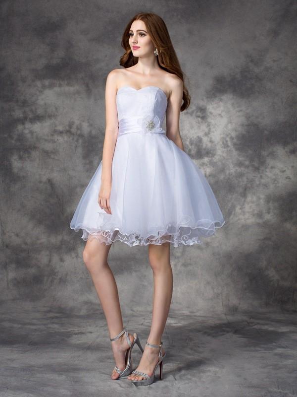 Vibrant Stylist Princess Style Sweetheart Ruffles Short Organza Dresses