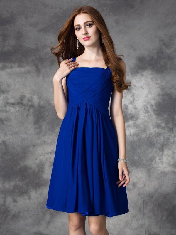 Just My Style Princess Style Square Ruffles Short Chiffon Dresses