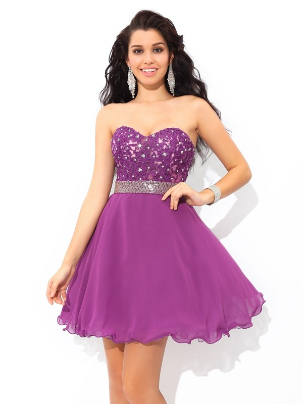 Defined Shine Princess Style Sweetheart Beading Short Chiffon Cocktail Dresses