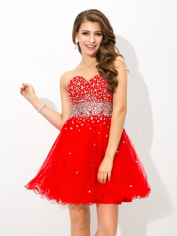 Beautiful You Princess Style Sweetheart Beading Short Organza Cocktail Dresses