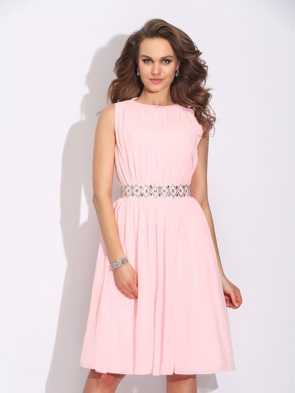 Naturally Chic Princess Style Jewel Ruffles Short Chiffon Dresses