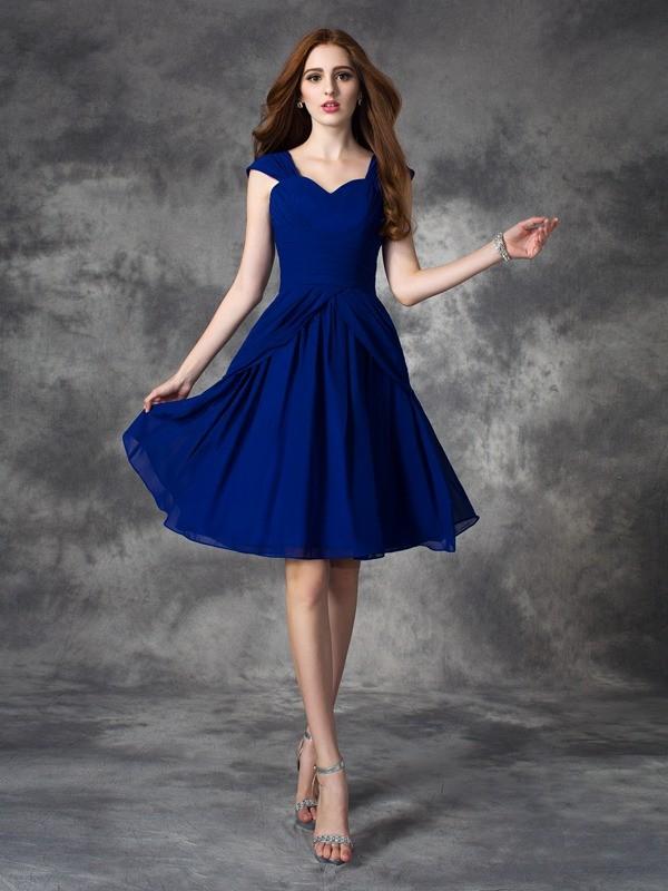 Embracing Grace Princess Style Straps Ruffles Short Chiffon Dresses