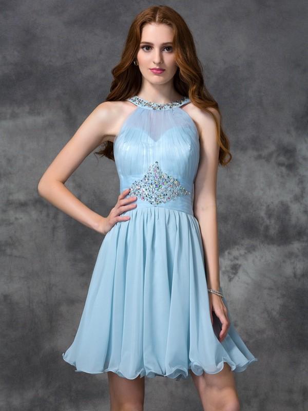 Aesthetic Honesty Princess Style Scoop Beading Short Chiffon Cocktail Dresses