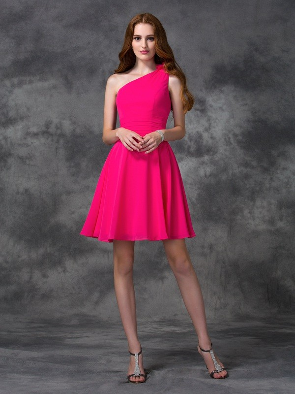 Chic Chic London Princess Style One-Shoulder Hand-Made Flower Short Chiffon Dresses