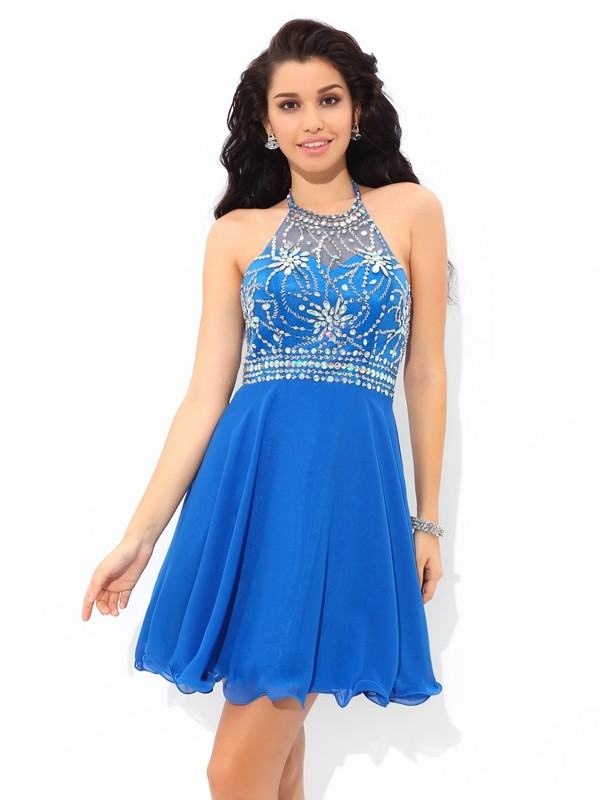 Treasured Reveries Princess Style Halter Beading Short Chiffon Cocktail Dresses