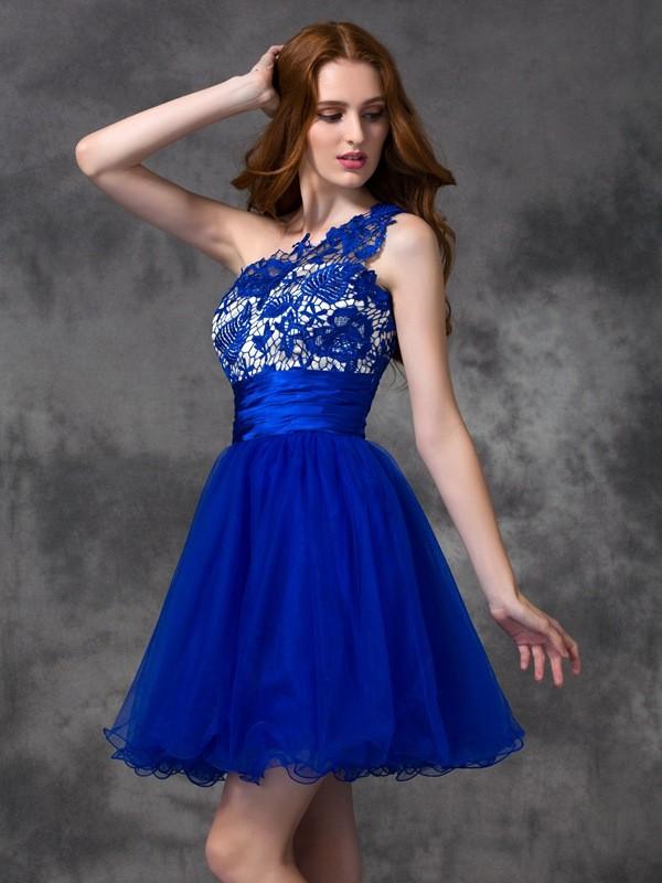 Limitless Looks Princess Style One-Shoulder Lace Short Satin Dresses