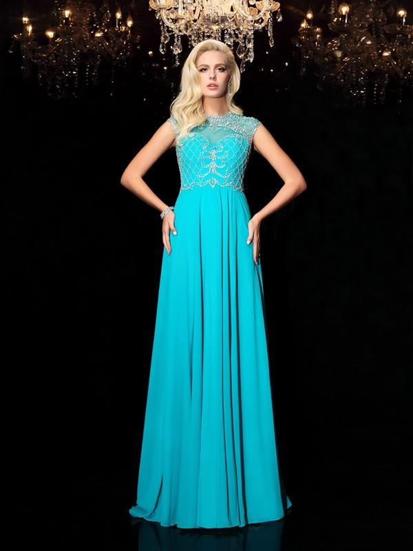 Confident Option Princess Style Jewel Lace Long Chiffon Dresses