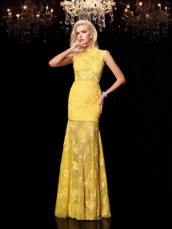 Fabulous Fit Sheath Style Jewel Lace Long Chiffon Dresses