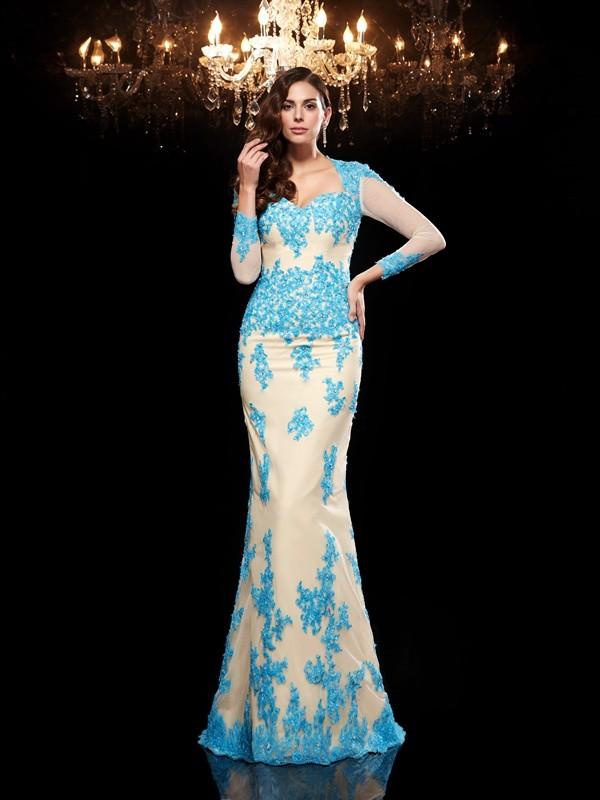 Visual Moment Mermaid Style Sweetheart Applique Long Net Dresses