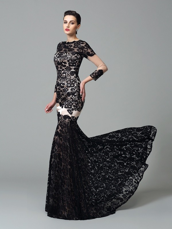 Cheerful Spirit Sheath Style High Neck Lace Long Elastic Woven Satin Dresses