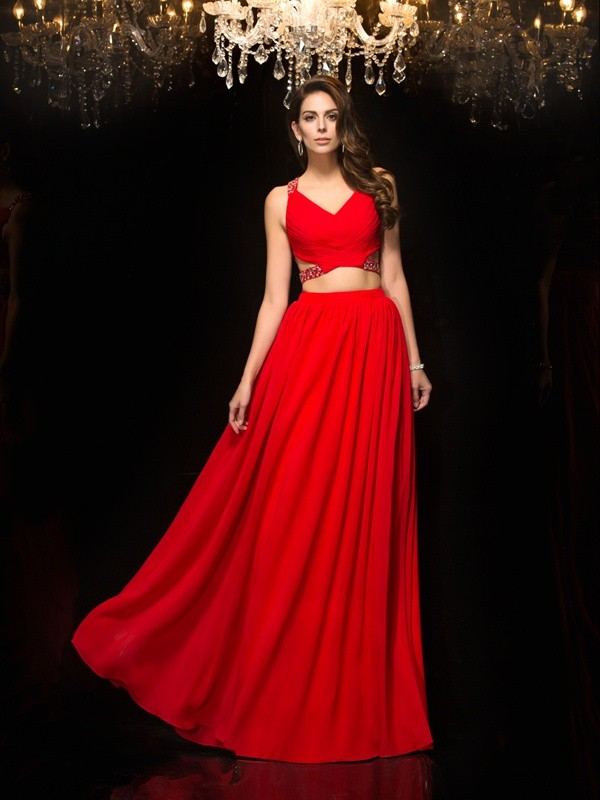 Dancing Queen Princess Style V-neck Beading Long Chiffon Two Piece Dresses