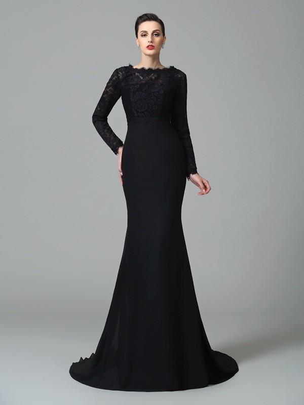 Lively Identity Mermaid Style Square Lace Long Chiffon Dresses