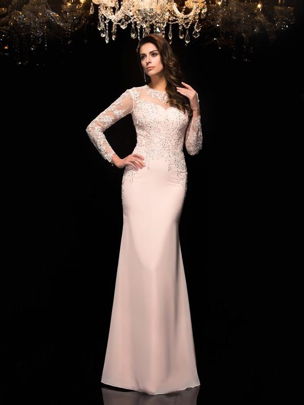 Vibrant Stylist Sheath Style Sheer Neck Applique Long Chiffon Dresses