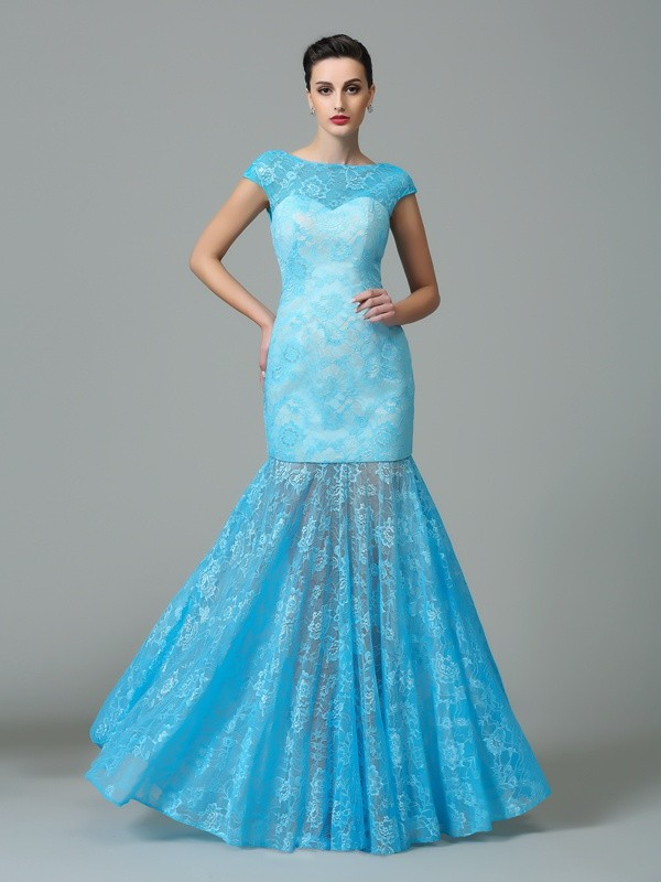 Just My Style Sheath Style Scoop Long Lace Dresses