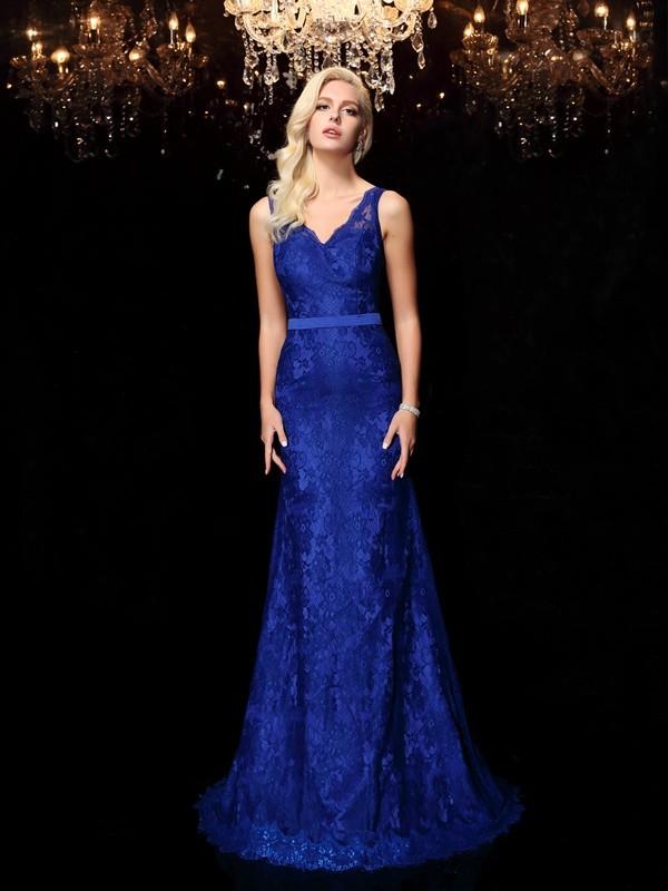 Romantic Vibes Sheath Style Straps Lace Long Satin Dresses