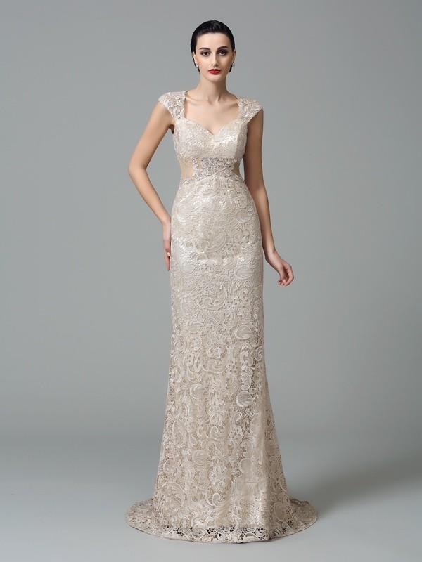 Defined Shine Sheath Style Straps Long Lace Dresses