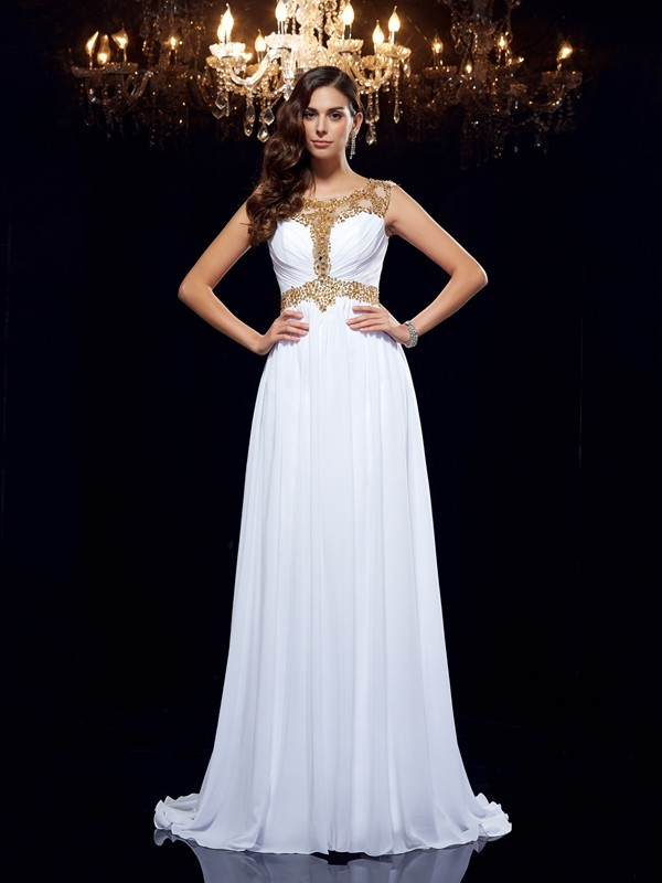 Beautiful You Princess Style Scoop Beading Long Chiffon Dresses