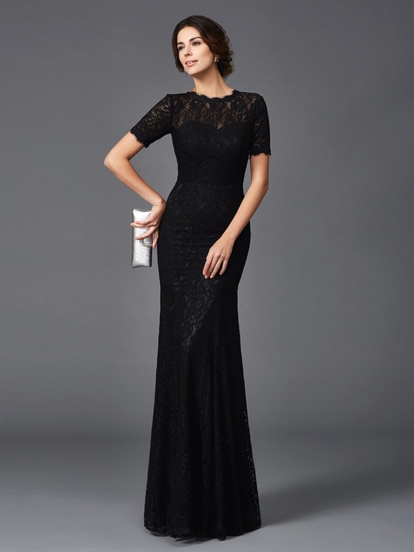 Romantic Vibes Sheath Style Jewel Lace Long Elastic Woven Satin Mother of the Bride Dresses