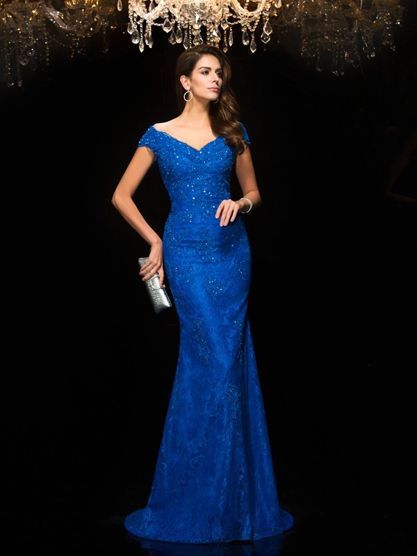 Sweet Sensation Mermaid Style V-neck Lace Long Lace Mother of the Bride Dresses