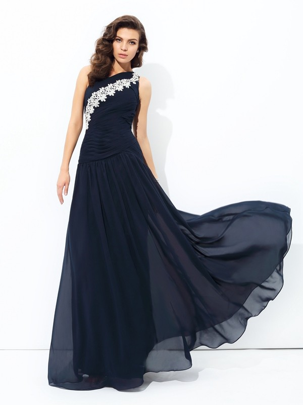 Savor the Occasion Princess Style One-Shoulder Applique Long Chiffon Dresses