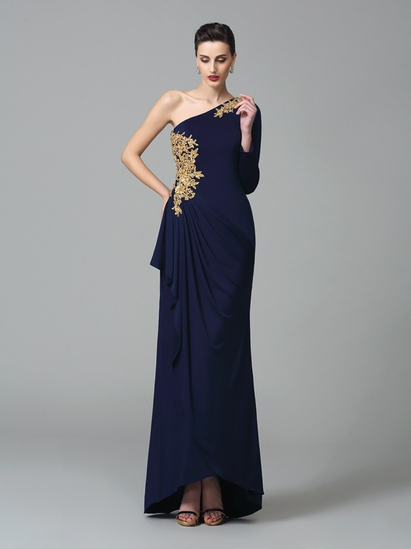 Eye-Catching Charm Sheath Style One-Shoulder Embroidery Long Spandex Dresses