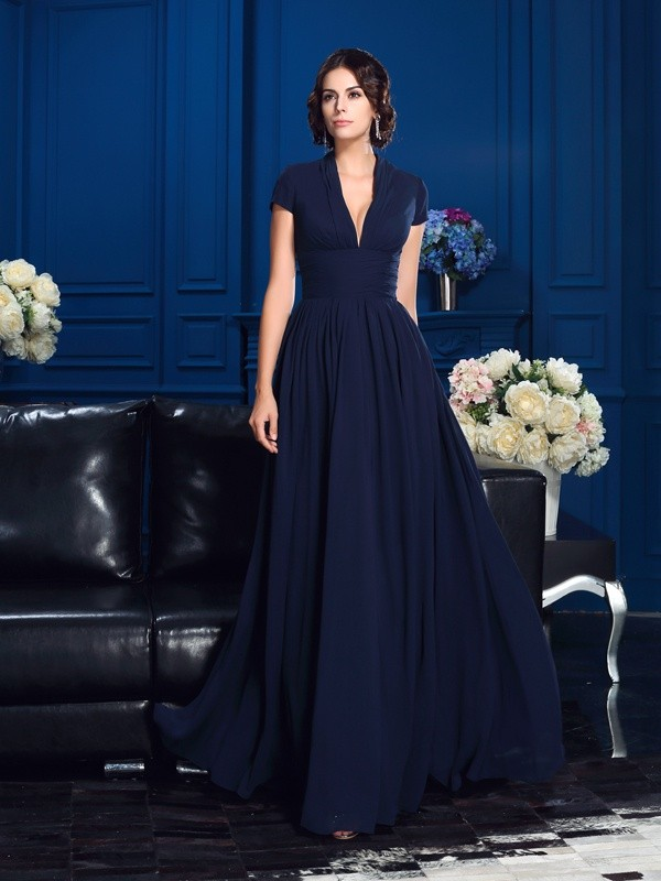Absolute Lovely Princess Style V-neck Applique Long Chiffon Mother of the Bride Dresses