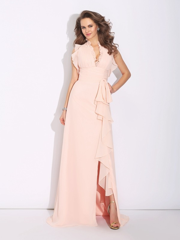 Aesthetic Honesty Princess Style High Neck Ruffles Long Chiffon Dresses