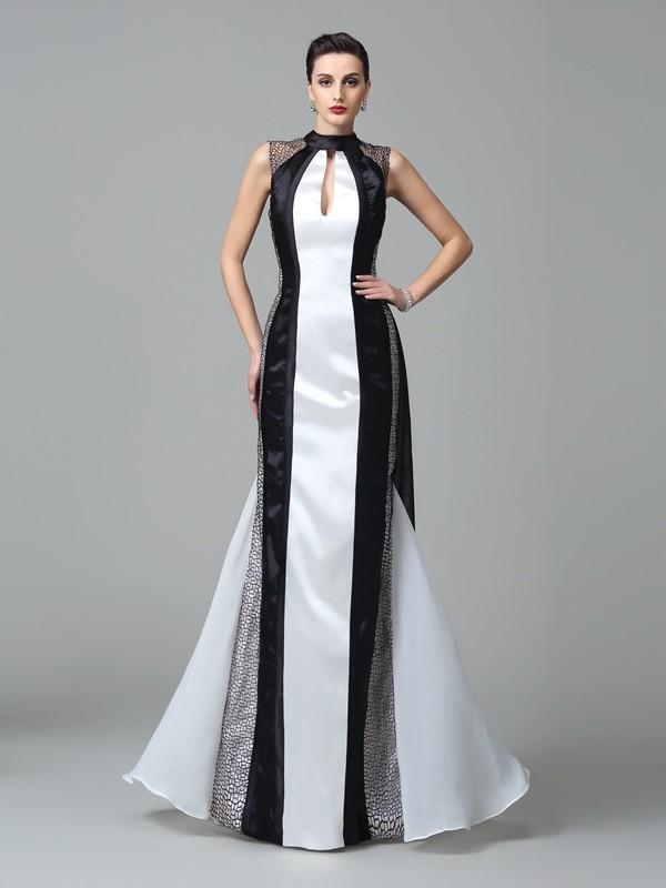 Chic Chic London Sheath Style High Neck Pleats Long Chiffon Dresses