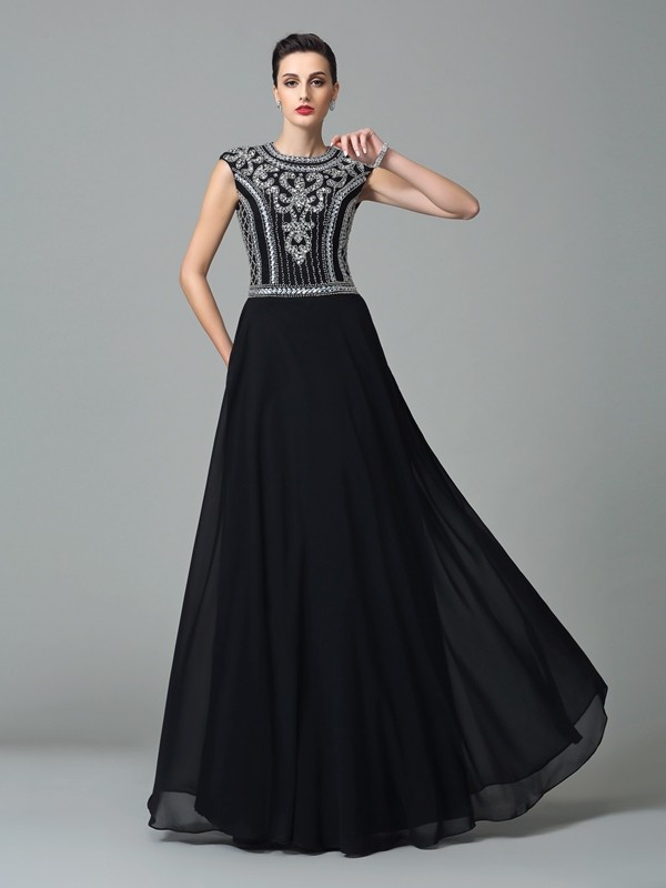 Limitless Looks Princess Style Jewel Beading Long Chiffon Dresses
