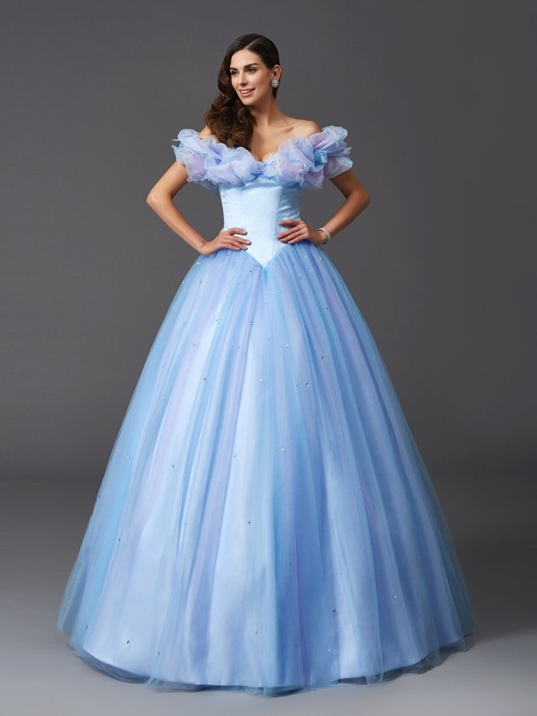 Desired Spotlight Ball Gown Off-the-Shoulder Beading Long Net Quinceanera Dresses