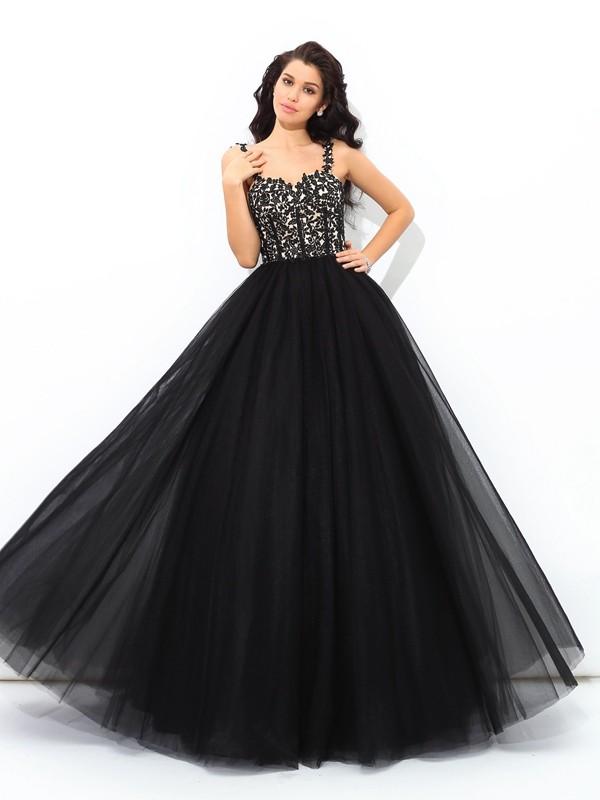 Voiced Vivacity Ball Gown Straps Applique Long Net Quinceanera Dresses