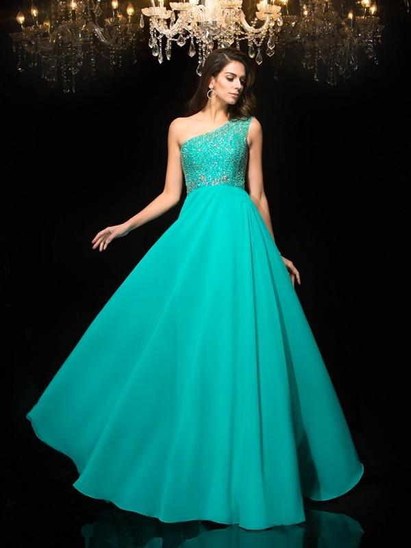 Styled to Smile Princess Style One-Shoulder Beading Long Chiffon Dresses