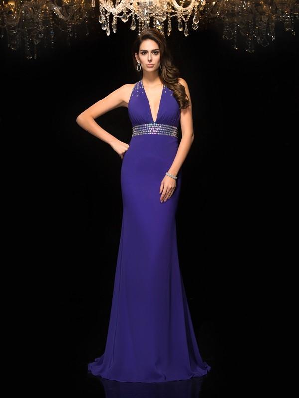 Confident Option Mermaid Style V-neck Beading Long Chiffon Dresses