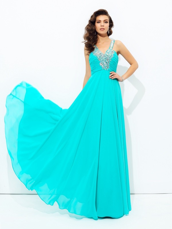 Fabulous Fit Princess Style V-neck Paillette Long Chiffon Dresses