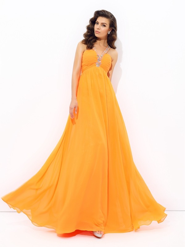 Visual Moment Princess Style V-neck Rhinestone Long Chiffon Dresses