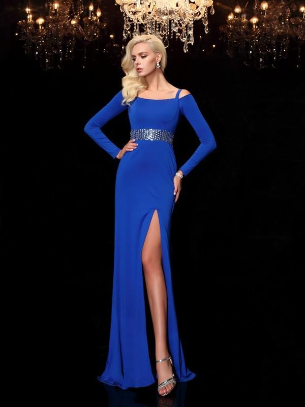 Yours Truly Sheath Style Bateau Beading Long Spandex Dresses