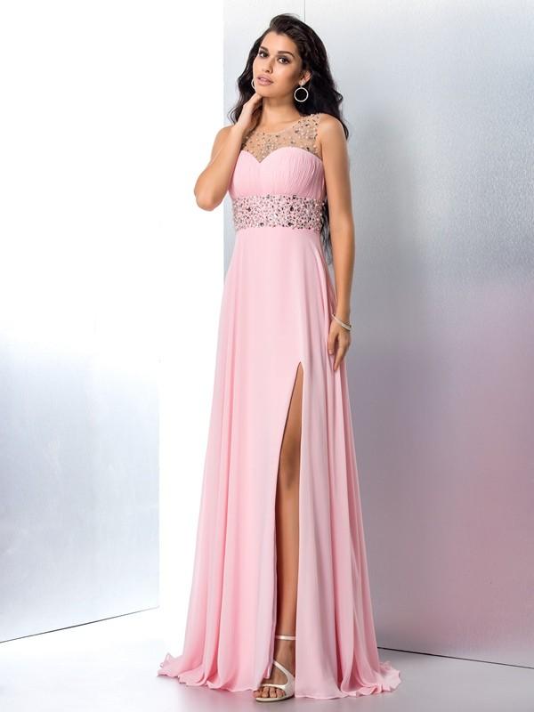 Just My Style Princess Style Sheer Neck Beading Long Chiffon Dresses