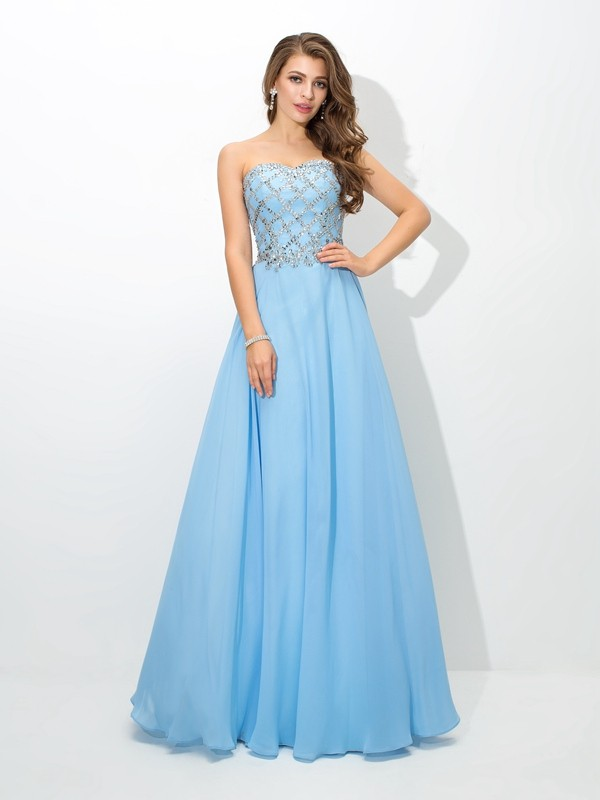 Romantic Vibes Princess Style Sweetheart Beading Long Chiffon Dresses