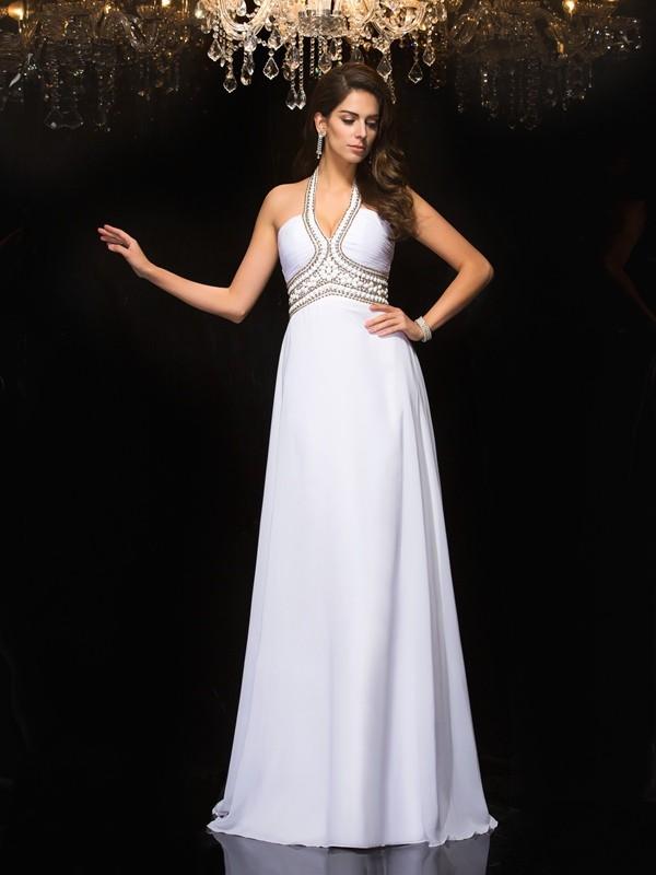 Beautiful You Princess Style Halter Long Chiffon Dresses