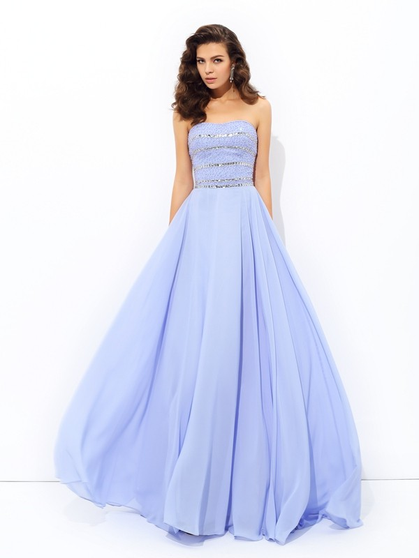 Modern Mood Princess Style Strapless Beading Long Chiffon Dresses