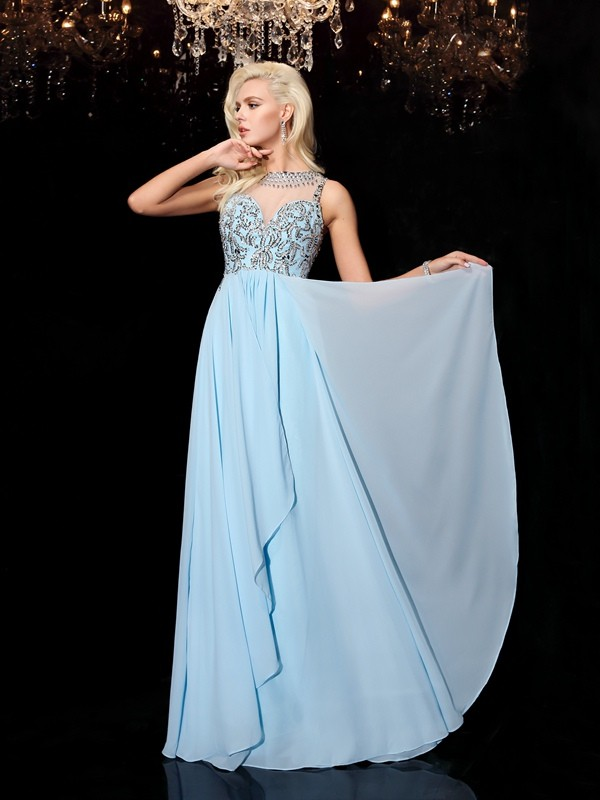Savor the Occasion Princess Style Scoop Beading Long Chiffon Dresses