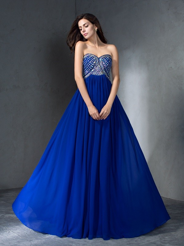 Eye-Catching Charm Princess Style Sweetheart Beading Long Chiffon Dresses