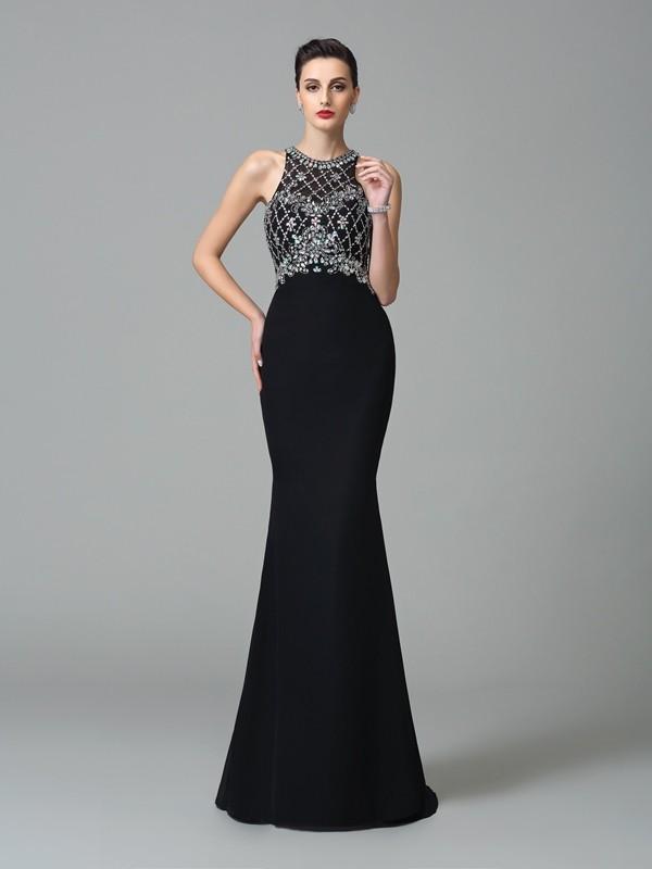 Intuitive Impact Mermaid Style Jewel Rhinestone Long Chiffon Dresses