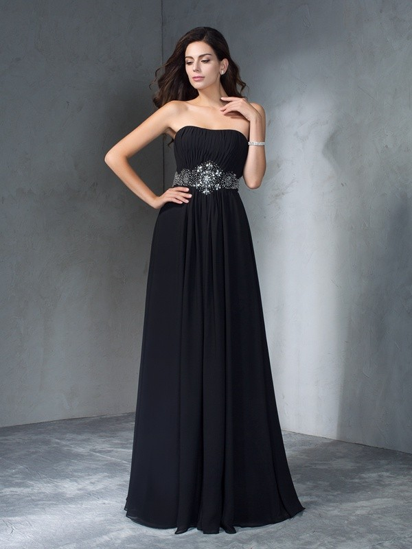Absolute Lovely Princess Style Strapless Beading Long Chiffon Dresses