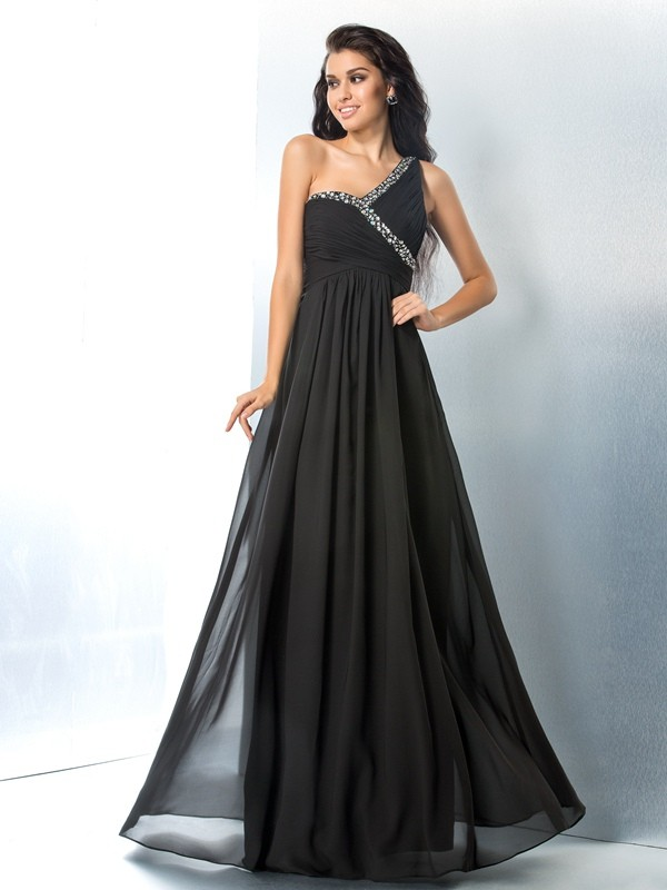 Chic Chic London Princess Style One-Shoulder Beading Long Chiffon Dresses