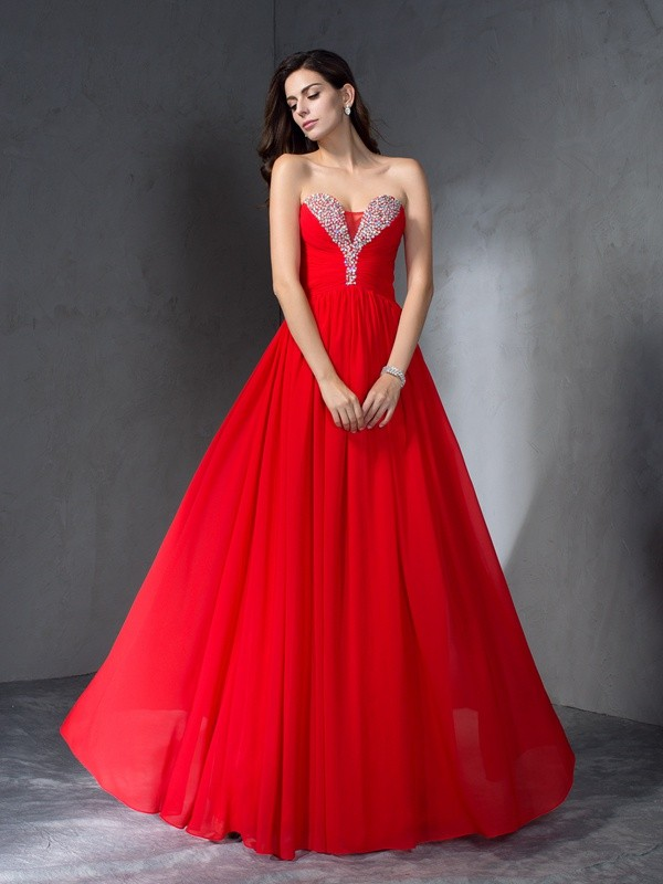 Limitless Looks Princess Style Sweetheart Beading Long Chiffon Dresses