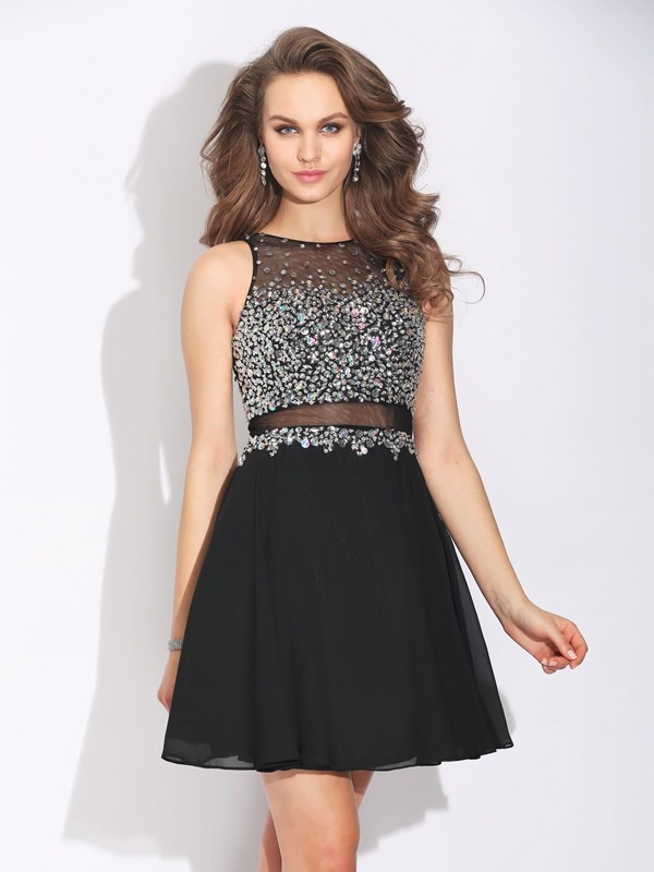 Sweet Sensation Princess Style Jewel Beading Short Chiffon Dresses