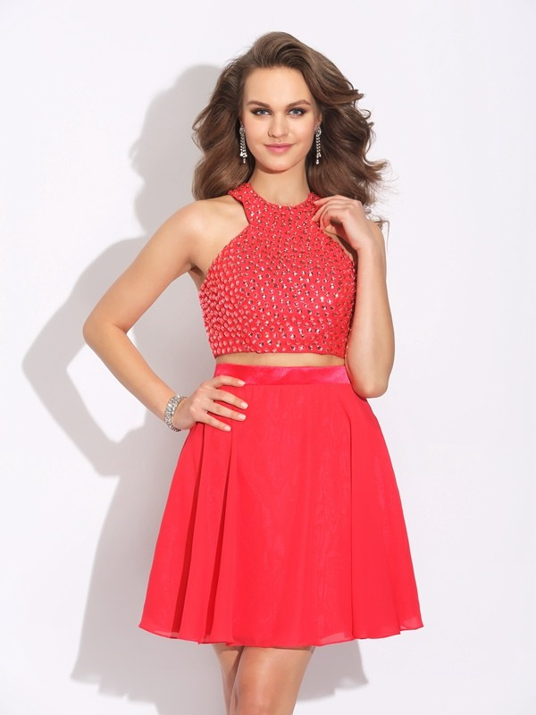 Fabulous Fit Princess Style Jewel Crystal Short Chiffon Two Piece Dresses