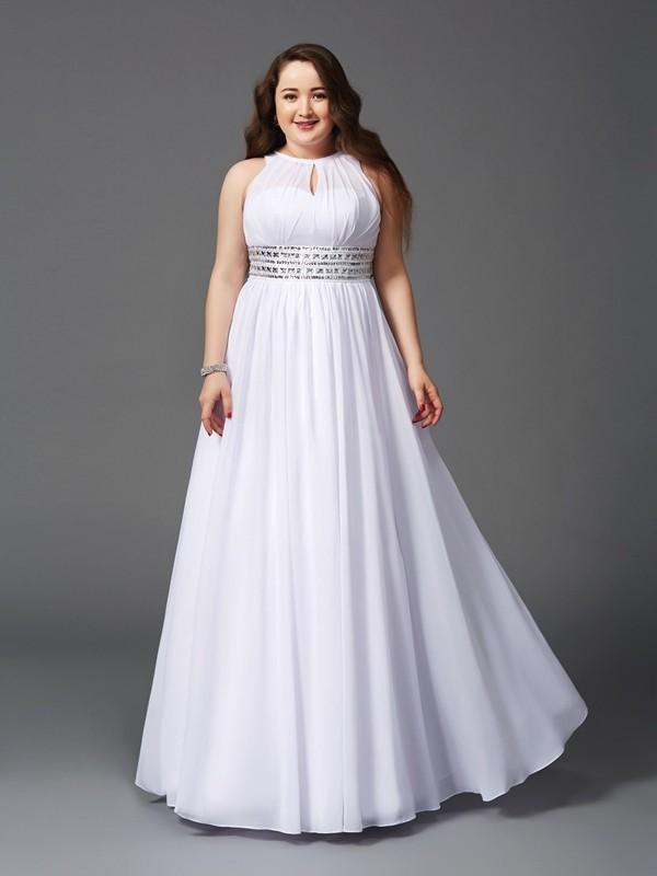 Dancing Queen Princess Style Jewel Beading Long Chiffon Plus Size Dresses