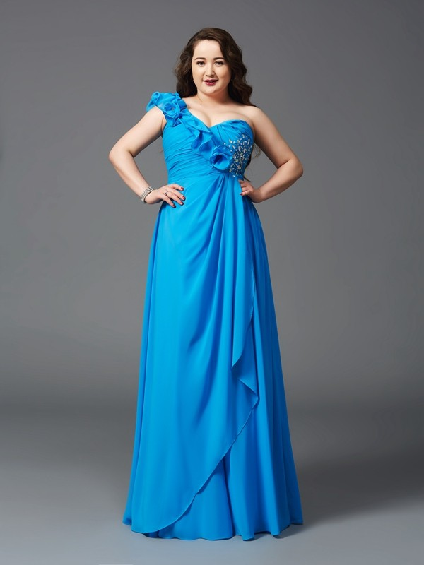 Stylish Refresh Princess Style One-Shoulder Rhinestone Long Chiffon Plus Size Dresses
